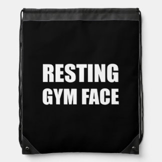 Resting Gym Face Drawstring Bag