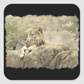 Resting Lion on a Cliff Stickers