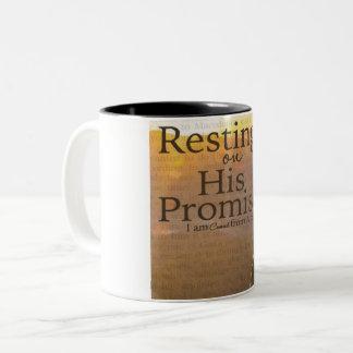 """Resting On His Promises Two-Tone Mug"" Two-Tone Coffee Mug"