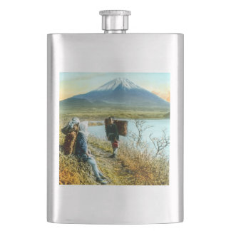 Resting on the Roadside to Mt. Fuji Vintage Hip Flask