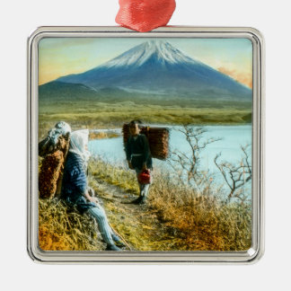 Resting on the Roadside to Mt. Fuji Vintage Metal Ornament
