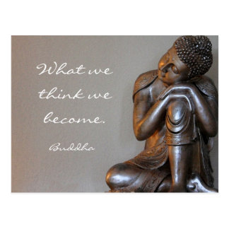 Resting peaceful silver Buddha words of wisdom Postcard