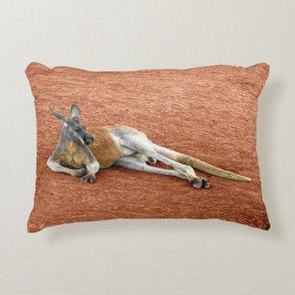 Resting Red Kangaroo Buck Decorative Pillow