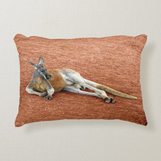 Resting Red Kangaroo Buck Decorative Pillow