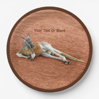 Resting Red Kangaroo Buck Paper Plate