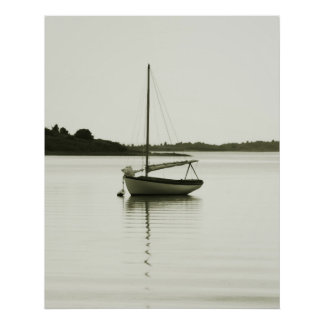 Resting Sloop in Menemsha Pond, Martha's Vineyard Poster