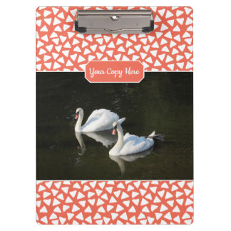 Resting Swans with Salmon Triangle Pattern Clipboard