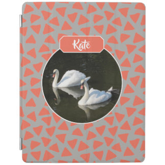 Resting Swans with Salmon Triangle Pattern iPad Cover