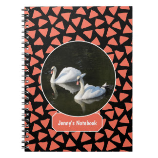 Resting Swans with Salmon Triangle Pattern Notebook