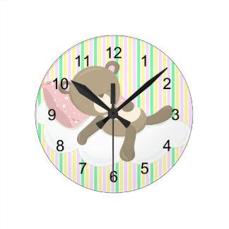 Resting Teddy Bear on Stripes Round Clock