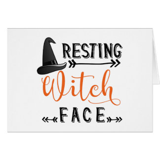 resting witch face card