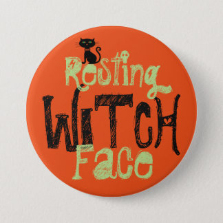 Resting Witch Face Large, 3 Inch Round Button
