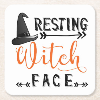 resting witch face square paper coaster