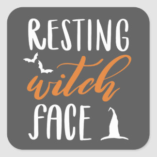 RESTING WITCH FACE SQUARE STICKER