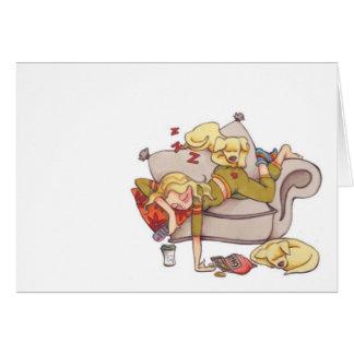 resting women notecard