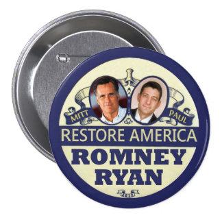 Restore America: Romney & Ryan 3 Inch Round Button