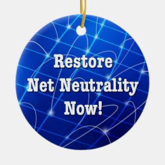 Restore Net Neutrality Now! Ceramic Ornament