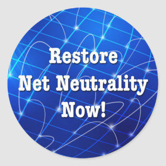 Restore Net Neutrality Now! Classic Round Sticker