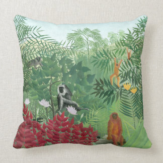 Restored Color Henri Rousseau Monkey Jungle Art Throw Pillow