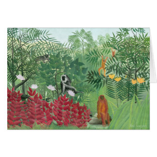 Restored Color Henri Rousseau Tropical Jungle Art Card