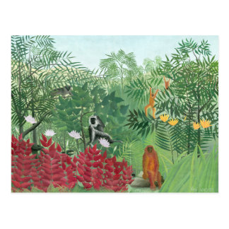 Restored Color Henri Rousseau Tropical Jungle Art Postcard