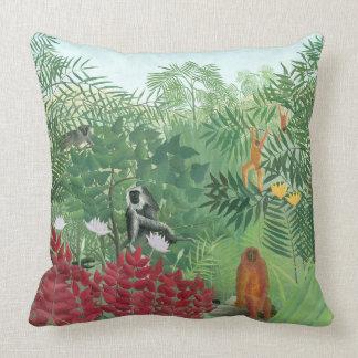 Restored Colour Henri Rousseau Monkey Jungle Art Throw Pillow