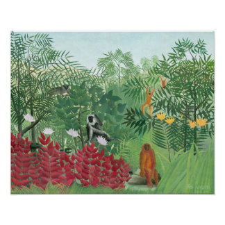 Restored Colour Henri Rousseau Tropical Jungle Art Poster