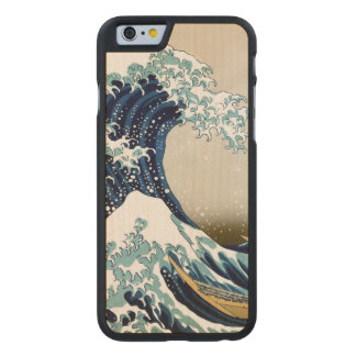 Restored Great Wave off Kanagawa by Hokusai Carved Maple iPhone 6 Case
