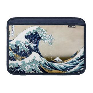 Restored Great Wave off Kanagawa by Hokusai MacBook Sleeve