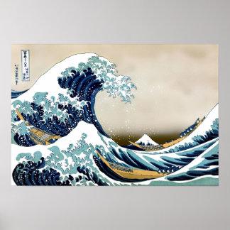 Restored Great Wave off Kanagawa by Hokusai Poster
