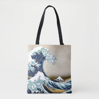 Restored Great Wave off Kanagawa by Hokusai Tote Bag