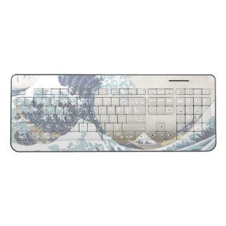 Restored Great Wave off Kanagawa by Hokusai Wireless Keyboard
