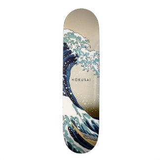 Restored Great Wave off Kanagawa Custom Text Skate Boards