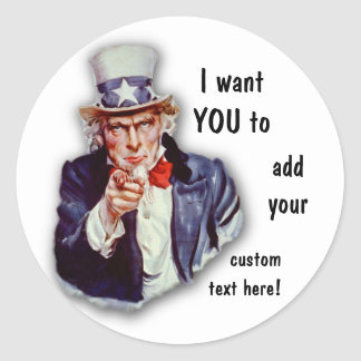 Restored Iconic Uncle Sam Image Classic Round Sticker