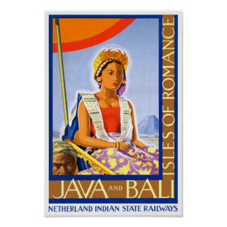 Restored Java and Bali Vintage Travel Poster