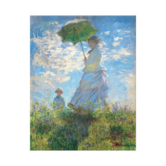 Restored Monet's Woman with a Parasol The Stroll Canvas Print