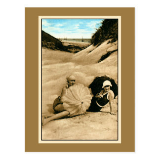 Restored vintage bathing beauties, dunes postcard
