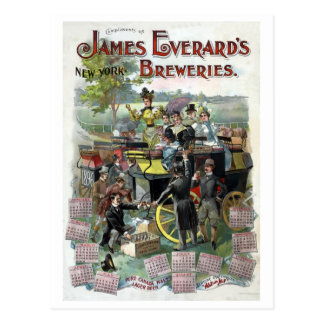 Restored Vintage New York Brewery calendar Postcard