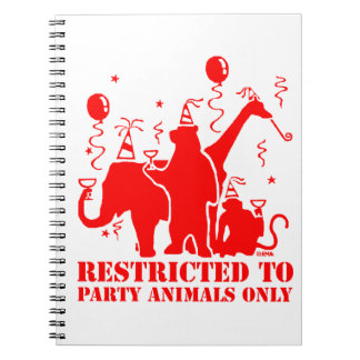 Restricted to party animals only spiral notebook