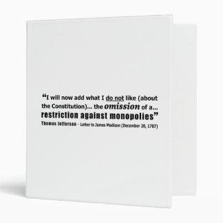 Restriction Against Monopolies Thomas Jefferson Binders