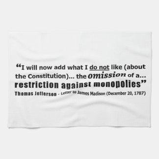 Restriction Against Monopolies Thomas Jefferson Kitchen Towels