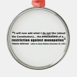 Restriction Against Monopolies Thomas Jefferson Silver-Colored Round Ornament