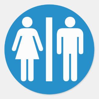 Restroom Facilities Highway Sign Round Sticker