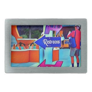Restrooms That Way Digital pop art Rectangular Belt Buckles