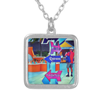 Restrooms That Way Digital pop art Silver Plated Necklace