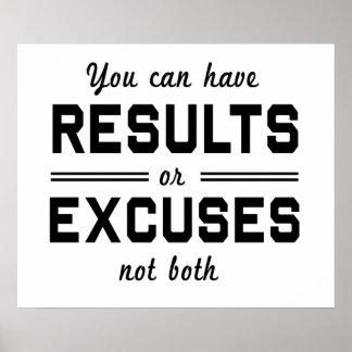 Résultats ou excuses posters