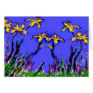 Résumé, les iris jaunes de la mère carte de vœux