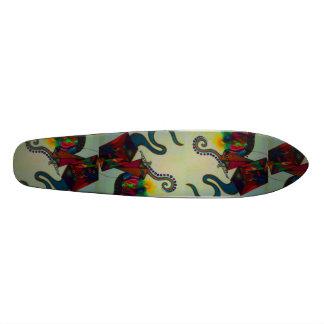 resurrection. abstract mixed medium drawing skate board deck