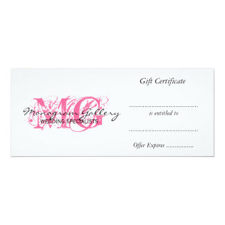 """Retail Business Gift Certificate Pink Monogram 4"""" X 9.25"""" Invitation Card"""