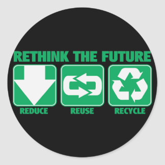 Rethink The Future, Recycle Round Sticker